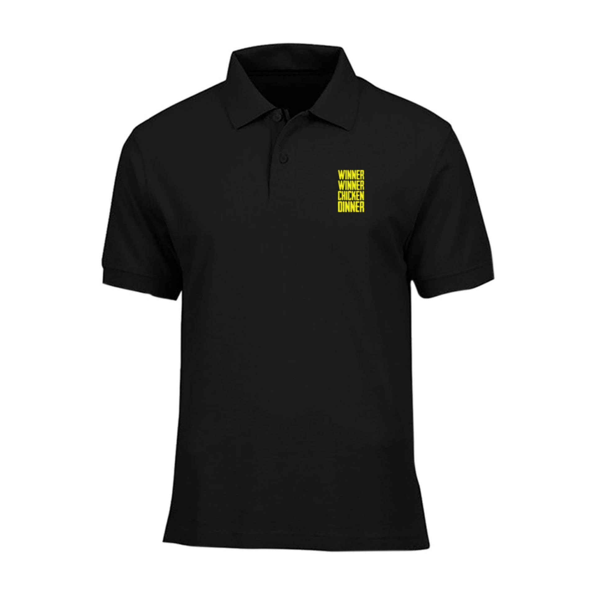 Cross In Mind Baju Polo PUBG Winner Winner Chicken Dinner - Hitam Gold
