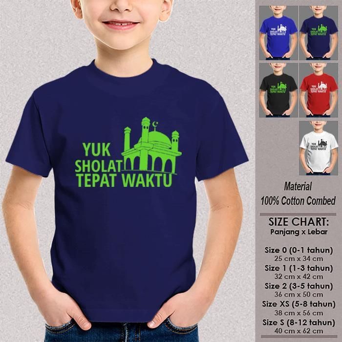 Kaos Anak Muslim Baju Dakwah YUK SHOLAT TEPAT WAKTU NAVY Ukuran Bayi