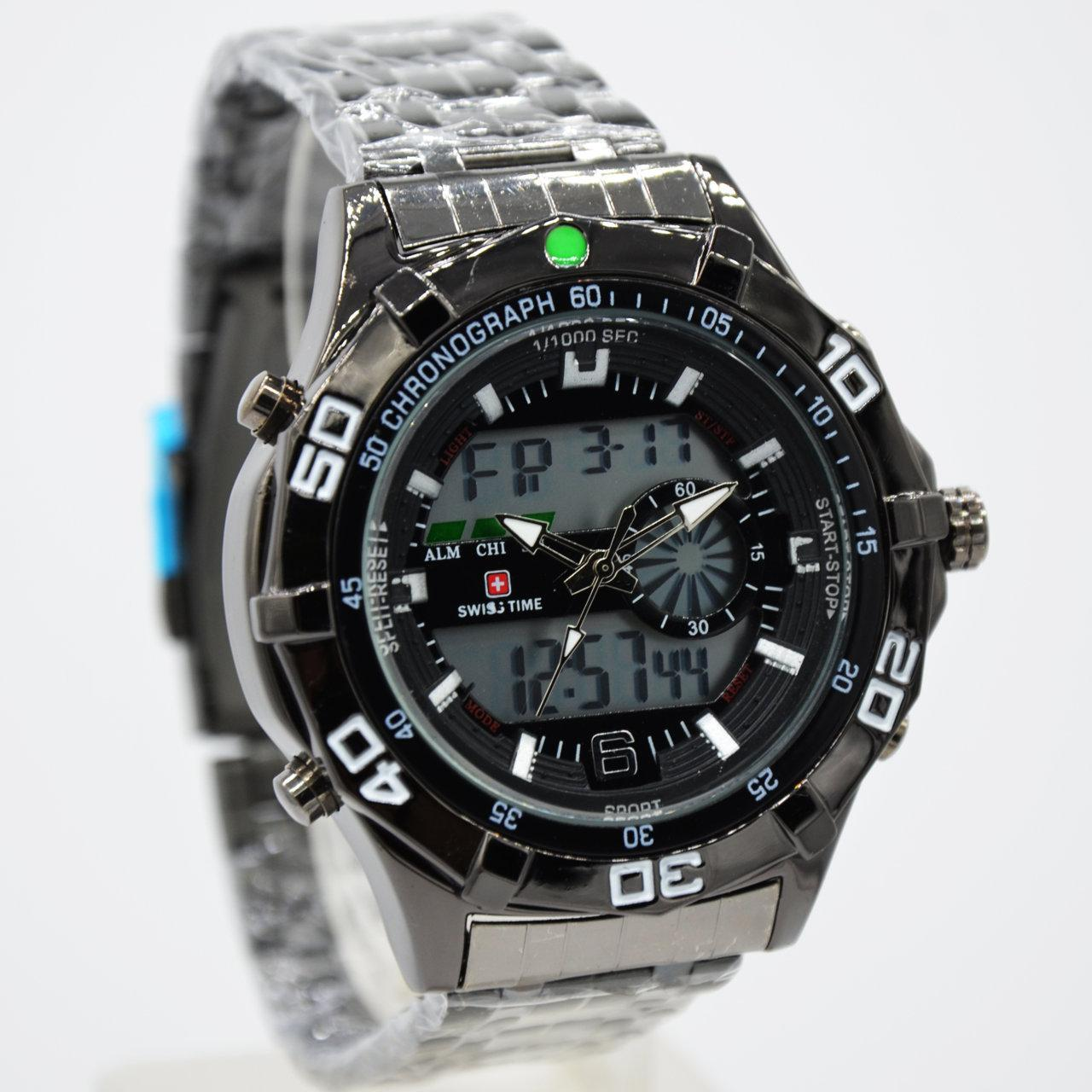 Swiss Army/time - Dual Time- Jam Tangan Pria - S4169SPT - Stainless Steel