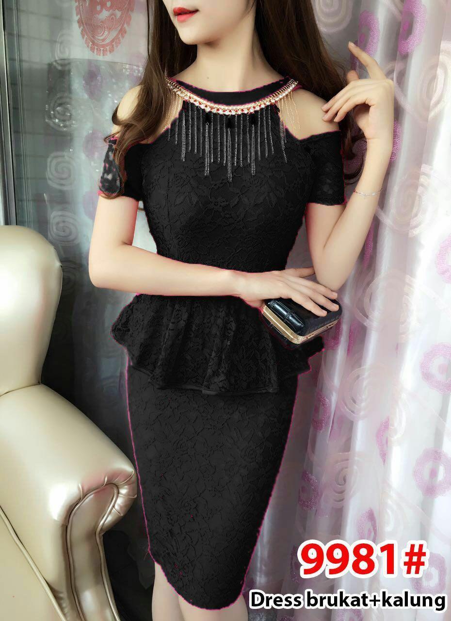 9981# dress fashion / gaun import / dress brokat / gaun pesta / dress span