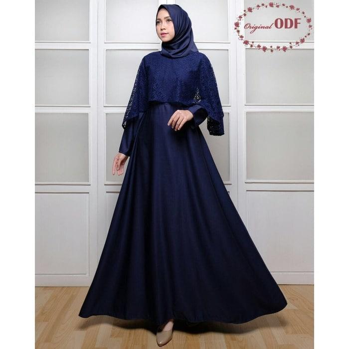 Gamis Wanita Terbaru Baju Gamis Syari Pesta Remaja Kombinasi Brokat Set + Jilbab Pashmina