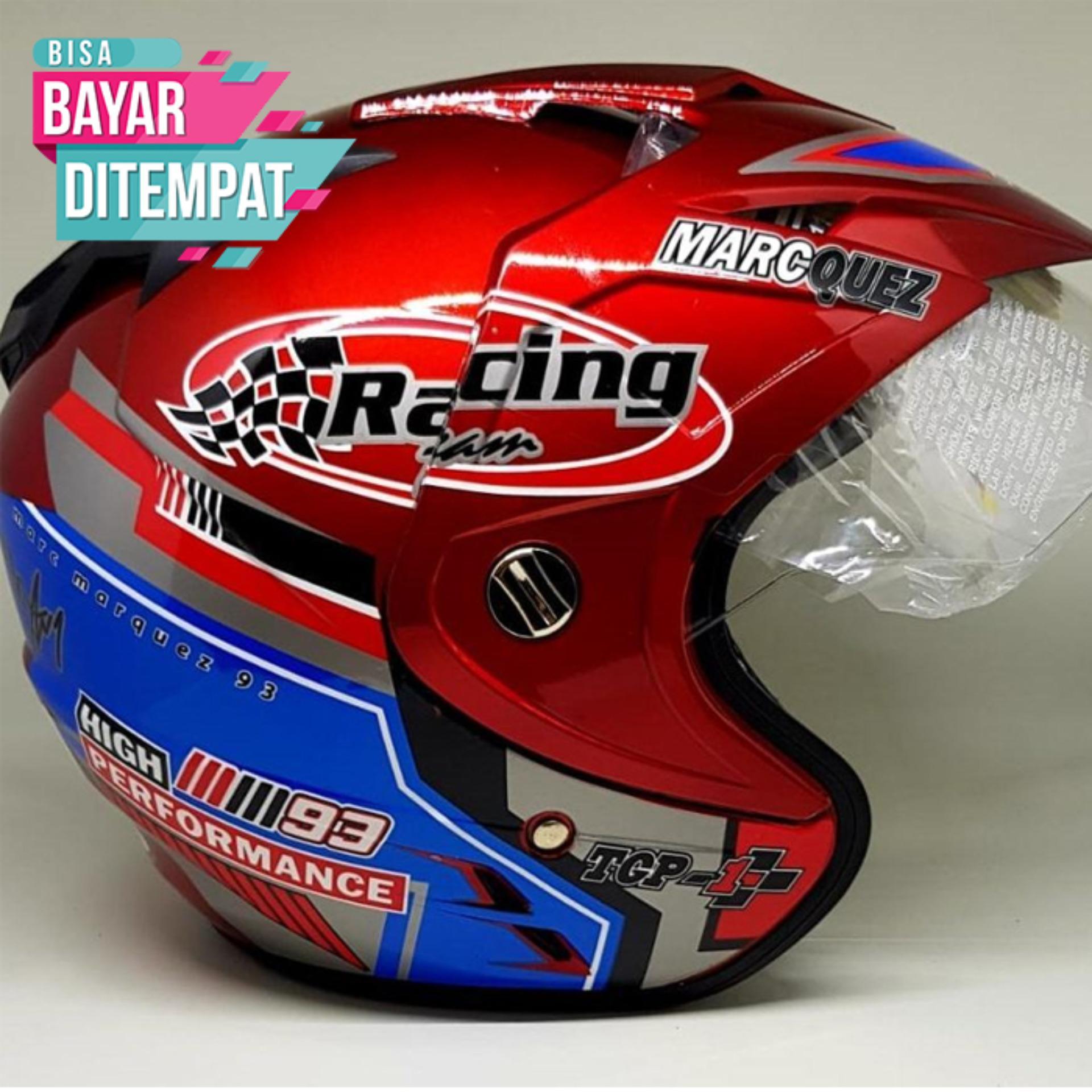[Promo Best Seller] Helmet Dewasa Double Visor SNI Motoif Marc Marquez 93 Warna Merah Kualitas Setara Helm KYT INK GM WTO MSR BMC NHK