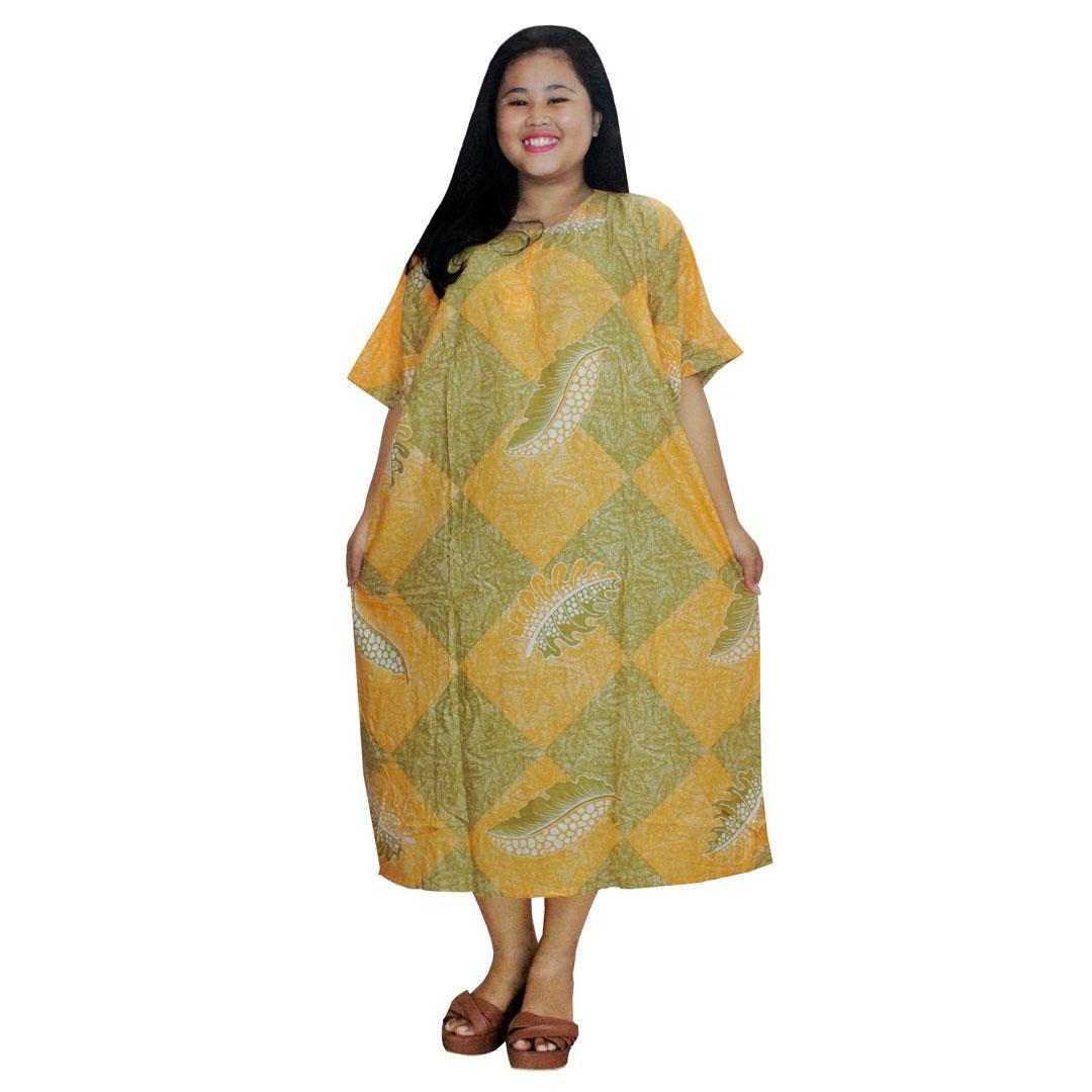 Daster Jumbo Lengan Pendek Batik, Baju Tidur Jumbo, Piyama Jumbo, Kancing, Daster Bumil - Busui (DPT003-60) Batikalhadi Online