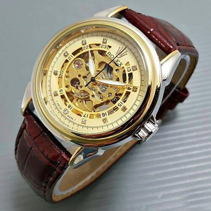 Jam tangan pria / Jam Tangan Pria Rolex skeleton Diamond Leather Brown Kombi plat Gold DISKON MURAH!!!