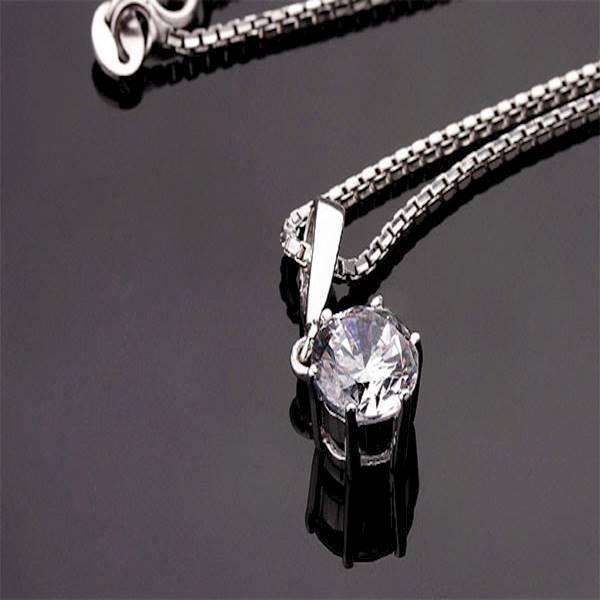 Kalung Perak EMAS PUTIH ASLI Import KOREA - WG 082 (Garansi 6 Bulan)
