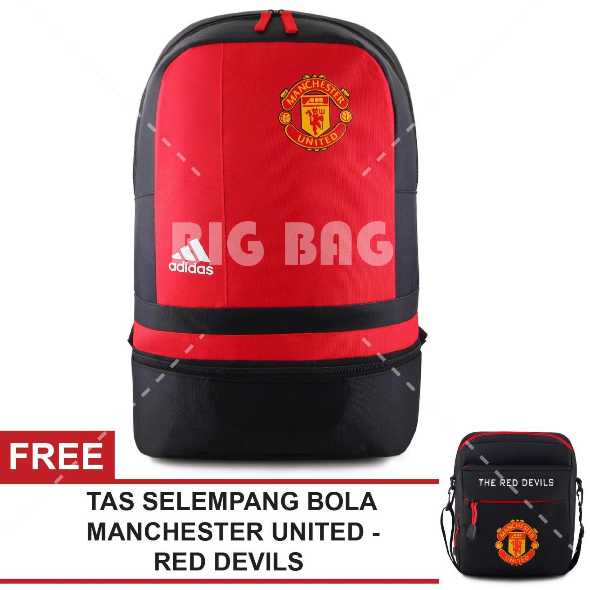 Tas Ransel Adidas Bola Pria M.U - Old Traffold Laptop Backpack Men Soccer Editions - Red + Raincover + FREE Tas Selempang Adidas M.U - The Red Devils - Black