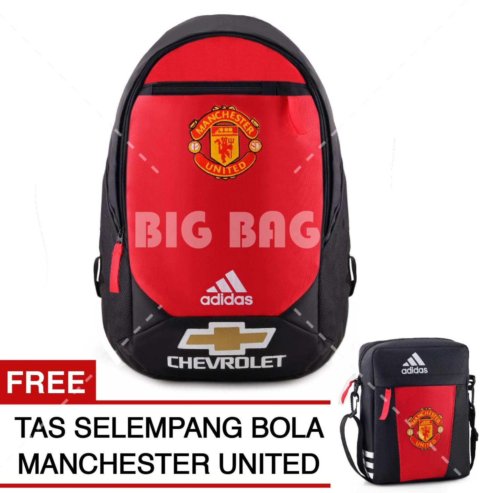Tas Ransel Adidas Bola Pria M.U Chevrolet Laptop Backpack Men Soccer Editions - Red + Raincover + FREE Tas Selempang Adidas M.U - Red