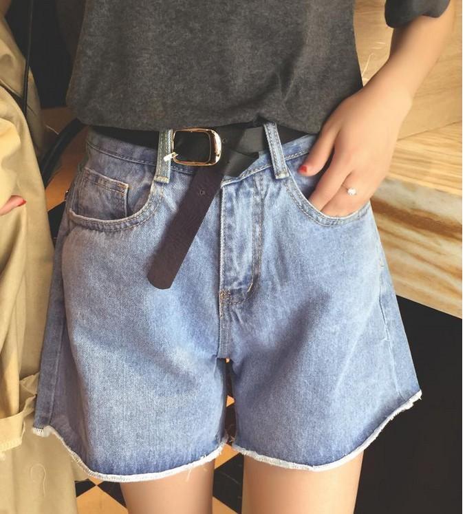 Celana Pendek Koboi Celana Korea Modis Gaya Perempuan Baru (Biru 6616 Baik Bahan Kain Berkualitas Baik)