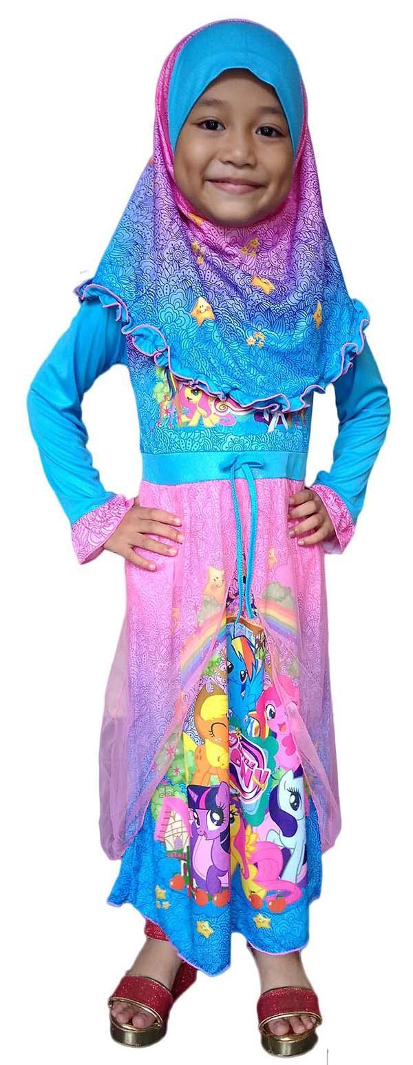 Baju Muslim Gamis Dress Anak Little Pony LPBD070318