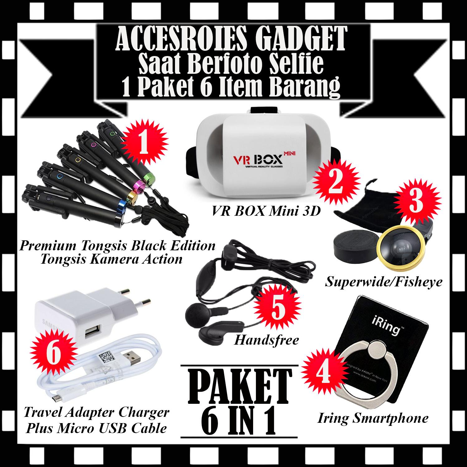Paket Accesories Gadget Berfoto Selfie - Premium Tongsis Black Edition Tongsis Kamera Action + VR Box Mini 3D Virtual Reality Glasses Cardboard Movie & Game + Superwide/Fisheye + Iring Smartphone + Handsfree & Travel Adapter Charger Plus Micro USB Cable
