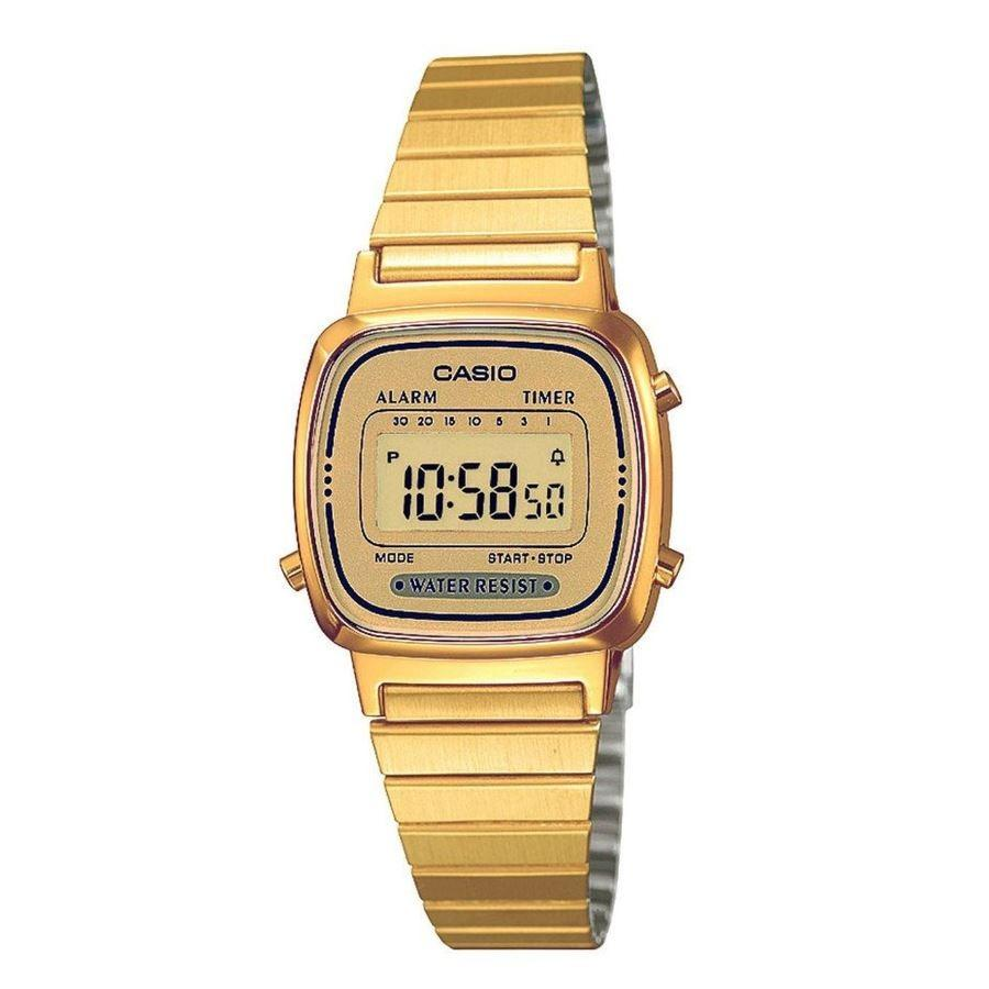 CASIO LA670WGA-9DF - Digital - Illuminator - Jam Tangan Wanita - Bahan Tali Stainless Steel - Gold