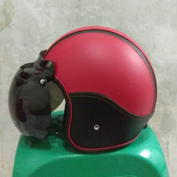 helm bogo kulit polos berbagai warna