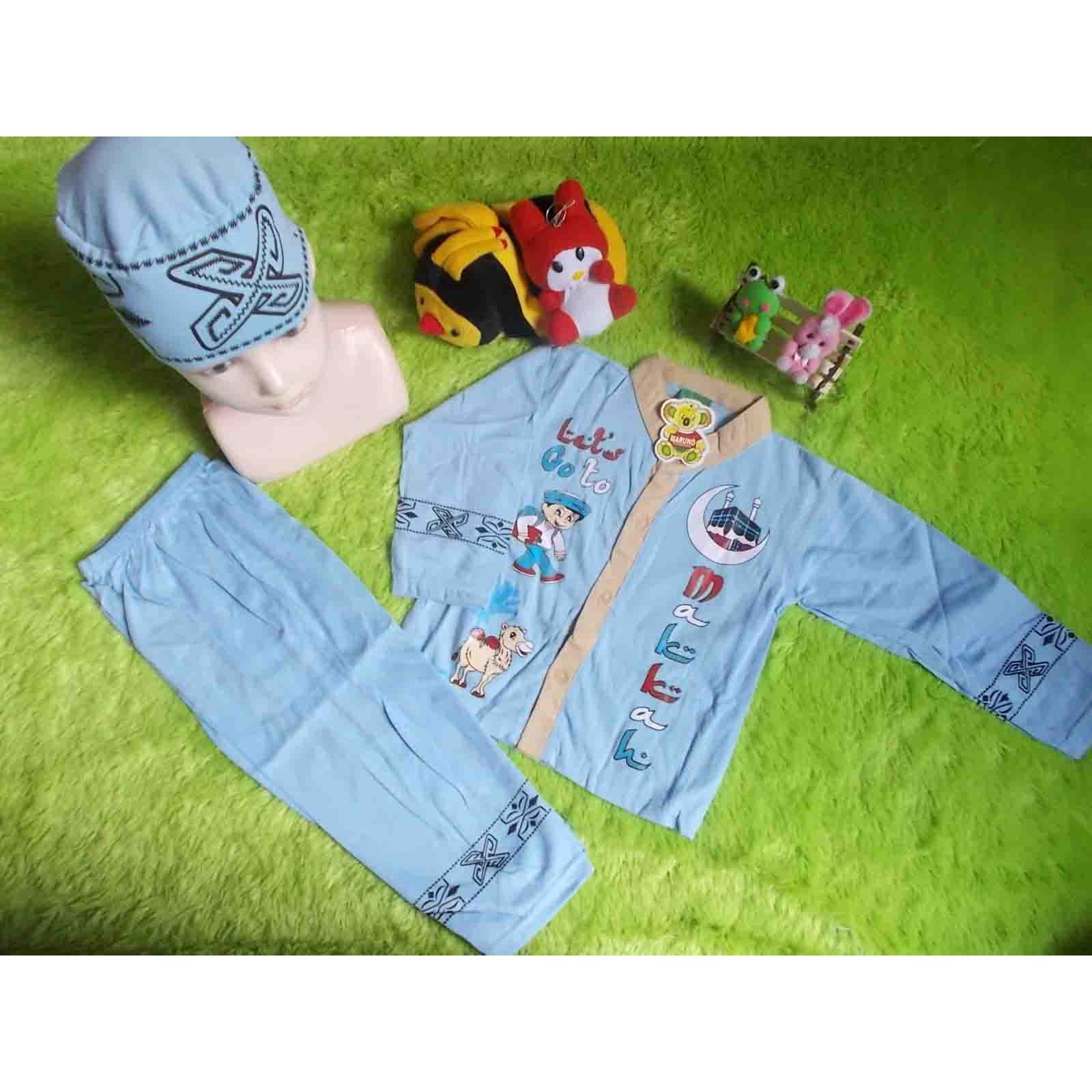 kembarshop - setelan baju koko anak baju muslim 4 tahun biru muda plus peci motif random
