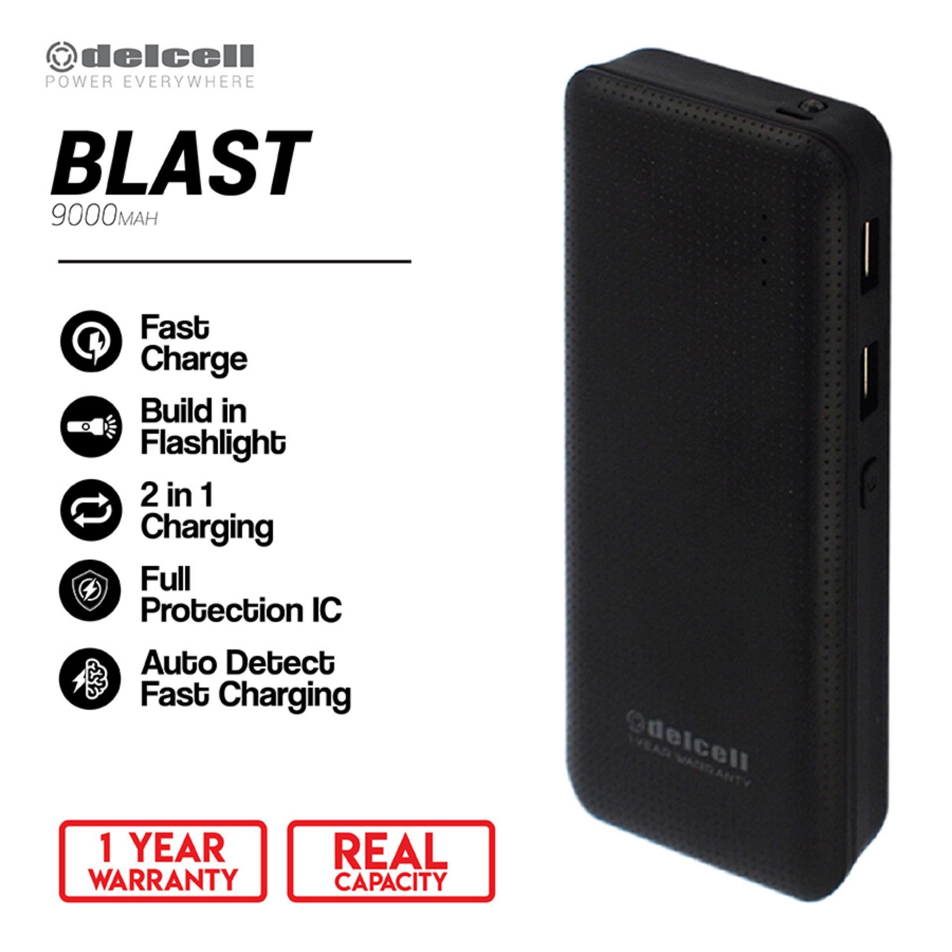 Delcell 9000mAh Powerbank BLAST Real Capacity Fast Charging Dual Output Garansi Resmi 1 Tahun Power Bank Murah Berkualitas - Black