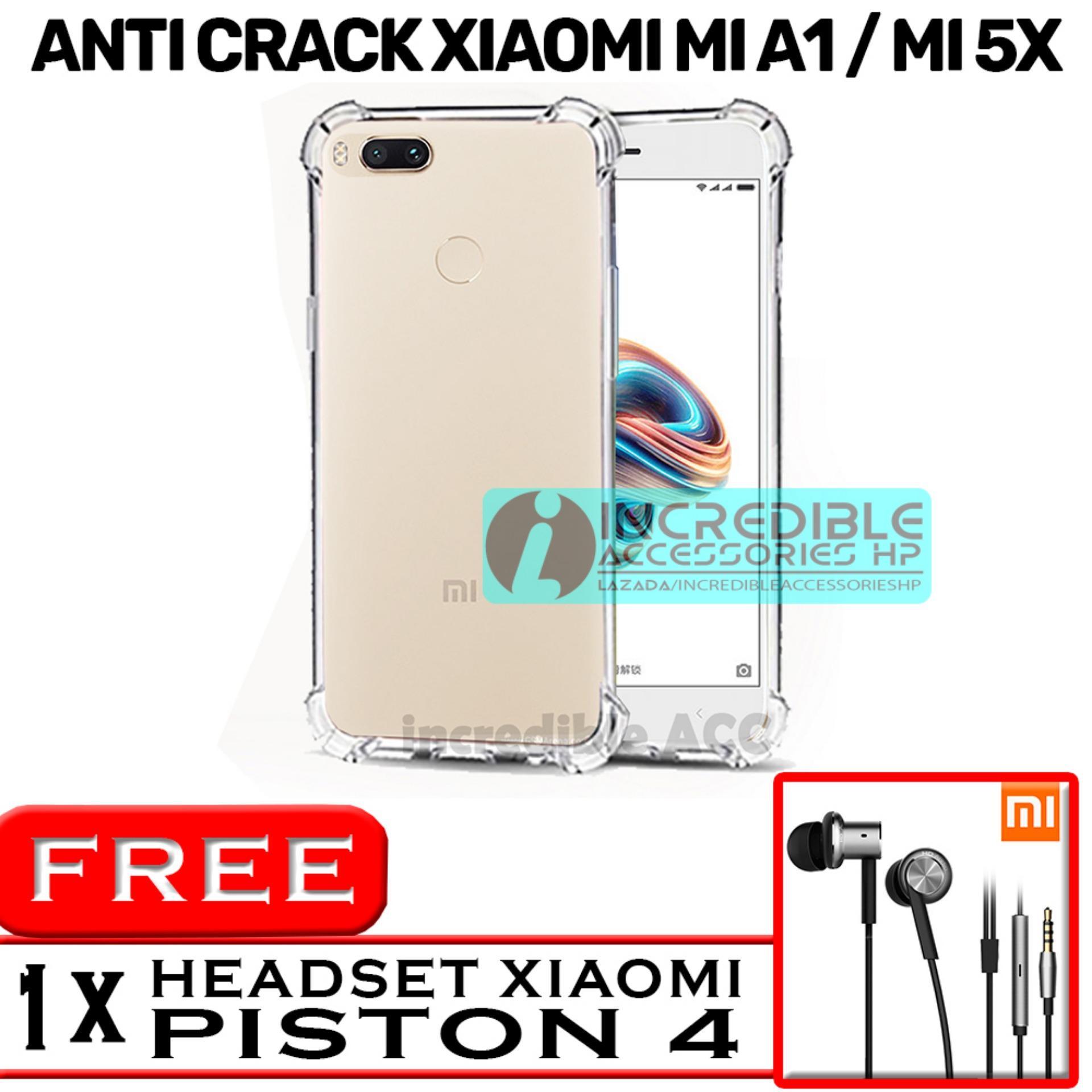 PROMO  Case Anti Shock / Anti Crack Elegant Softcase  for Xiaomi Mi A1 / Xiaomi Mi 5x - White Clear + Free Headset Model Mi Piston 4
