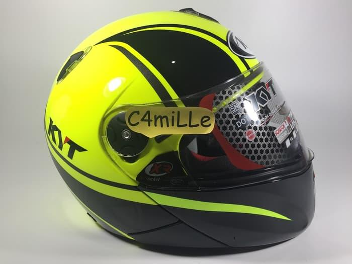 Helm Full Face KYT X rocket black yellow stabilo