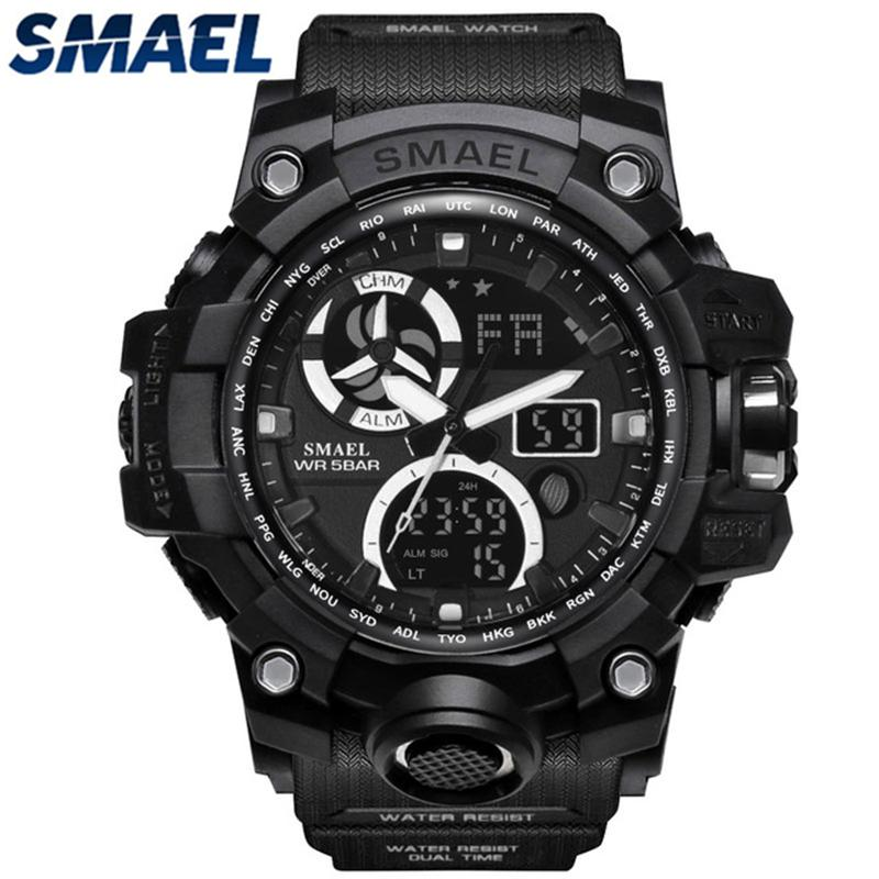 SMAEL Men's Watches Top Brand Luxury LED Dual Display Digital Quartz Watch Men Casual Sports Waterproof Military Chronograph Watch