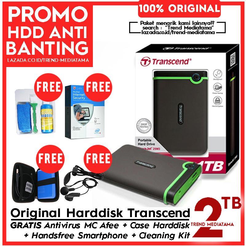 [PROMO] Transcend Hard Drive 2TB - Harddisk External Anti Banting Antishock 25M3 Gratis Anti Virus MC AFee 90 Hari + Handsfree + Cleaning Kit + Hard Case HDD