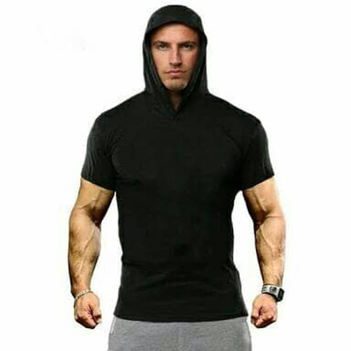 Best Seller Baju Kaos Hoodie Kupluk Topi Gym Fitness Training Tshirt Shirt Jogging - Ikipmzcq By Zanna Collections.