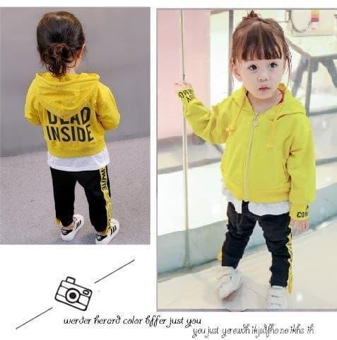 Baju Setelan Anak Perempuan Import Jaket Hoodie Kuning Celana Hitam