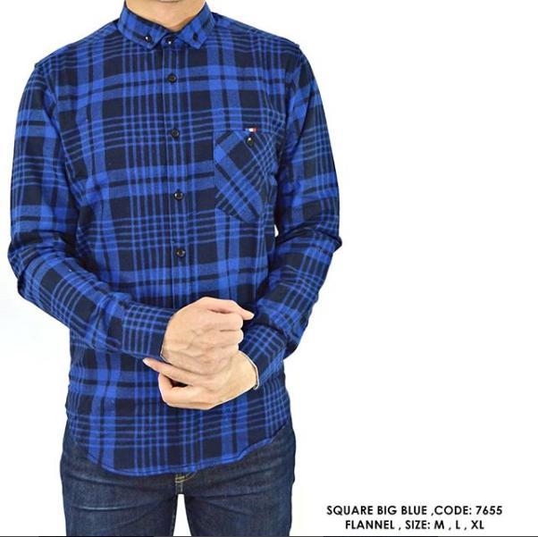 van shirt store  KEMEJA COWOK PRIA KERJA LENGAN PANJANG FLANNEL FLANEL KOTAK BIRU TUA  Square Big Blue