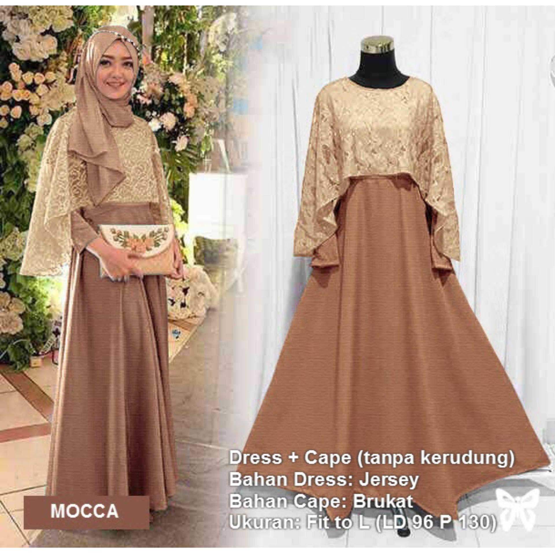 Maxi Dress Lengan Panjang Set 2 in 1 Cape Brukat MSR311 / Gamis Syari / Gaun Pesta Muslimah / Baju Muslim Wanita Syar'i / Hijab Kebaya Modern Brokat / Srtiara