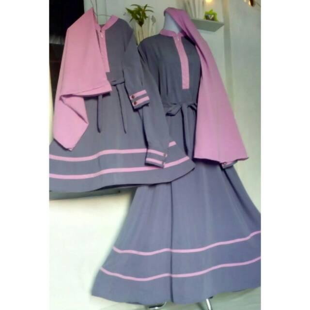 Set Gamis Couple Ibu Anak Abu-abu Kombinasi Dusty Pink Murah Terbaru (11-12Th)