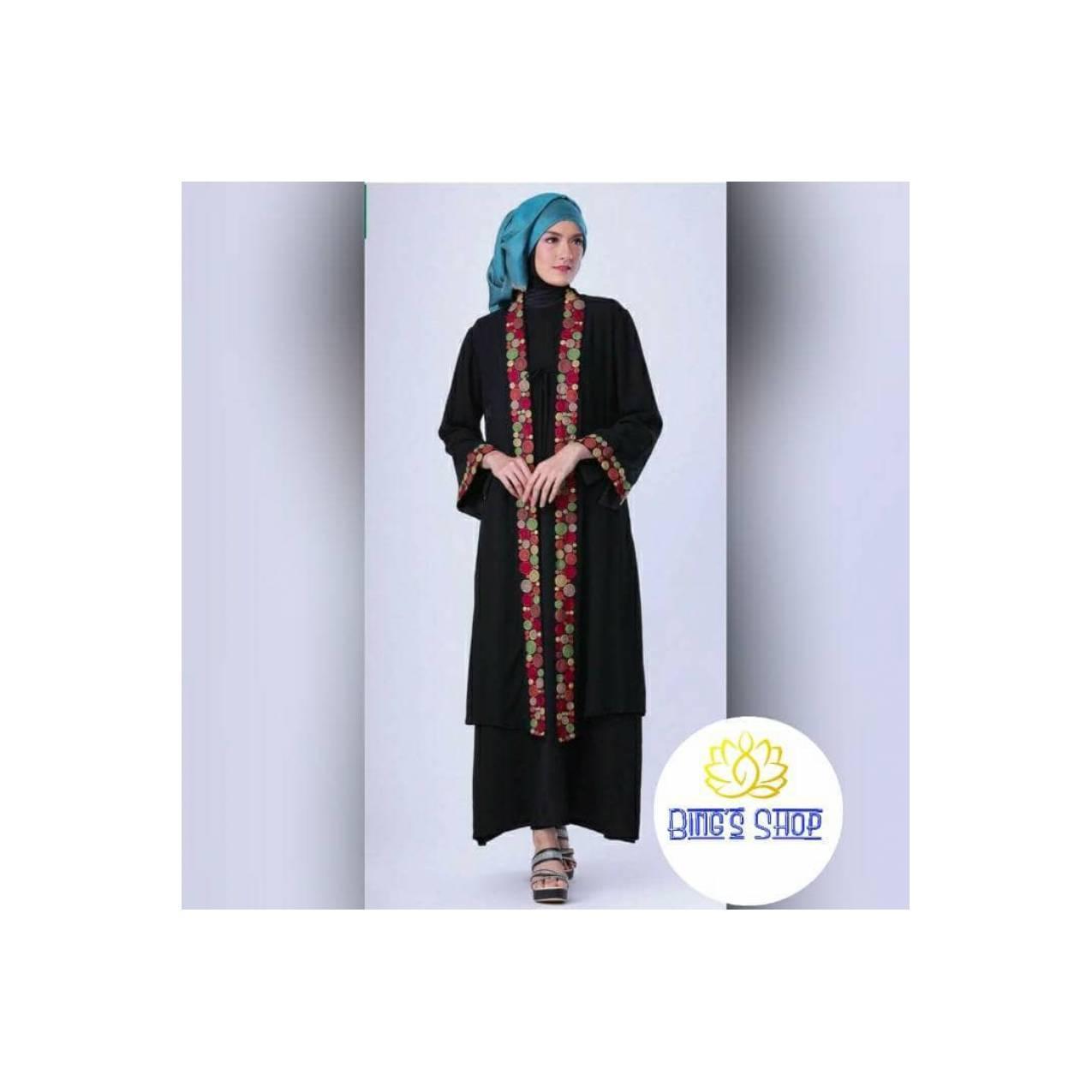 Gamis hitam setelan rok baju muslim syar'i sifon renda by Garsel-FTW