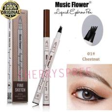 Music Flower 4 Head Liquid Eyebrow Pen Waterproof Fine Sketch Eye Brow Tattoo Alis Pensil Tahan