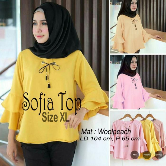 OS Atasan Wanita Sofia Top Blouse Tunik Baju Muslim Blus Muslim  Low Price!