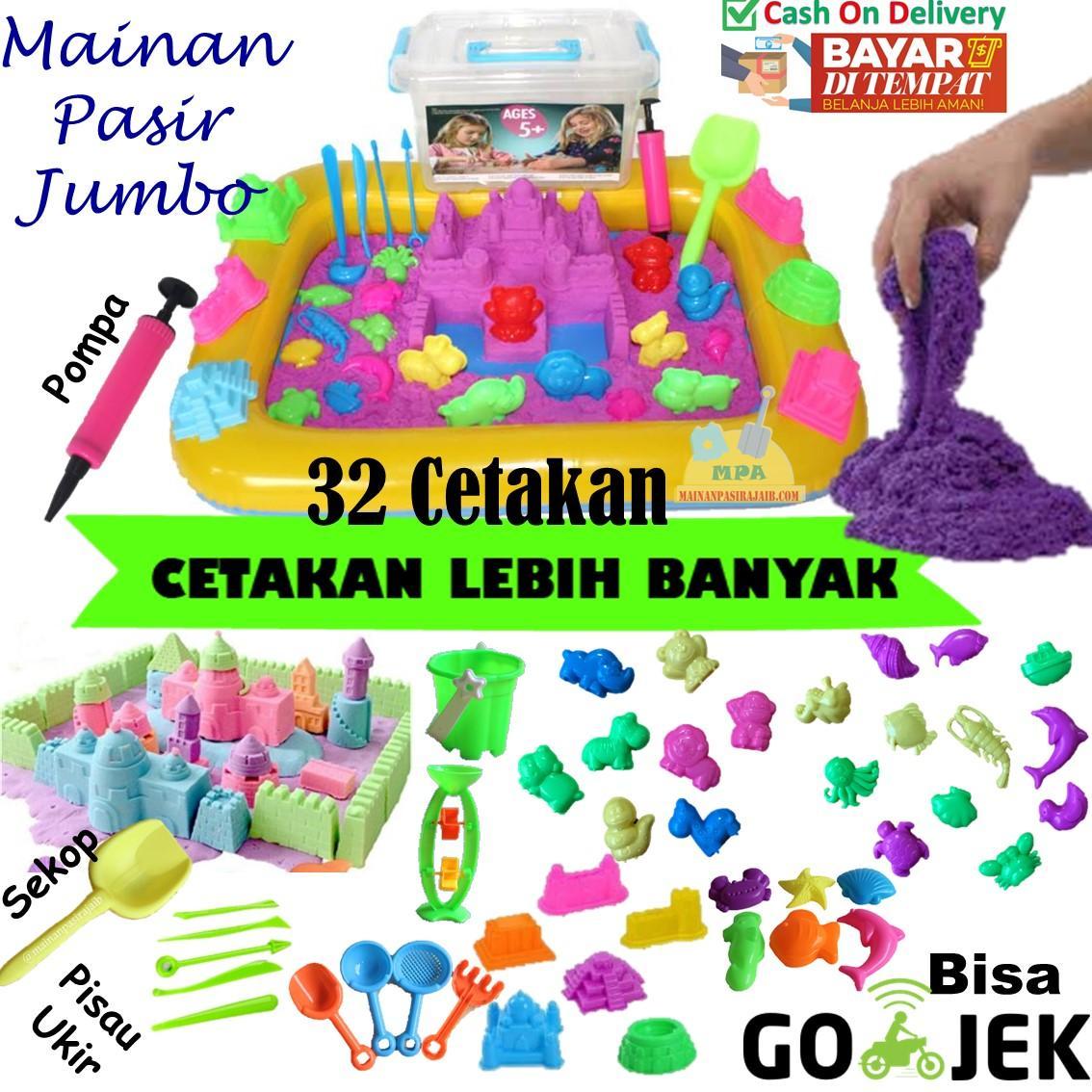Mainan Pasir Ajaib Play Sand Magic Sand 2 Kg Paket Lengkap 32 Cetakan
