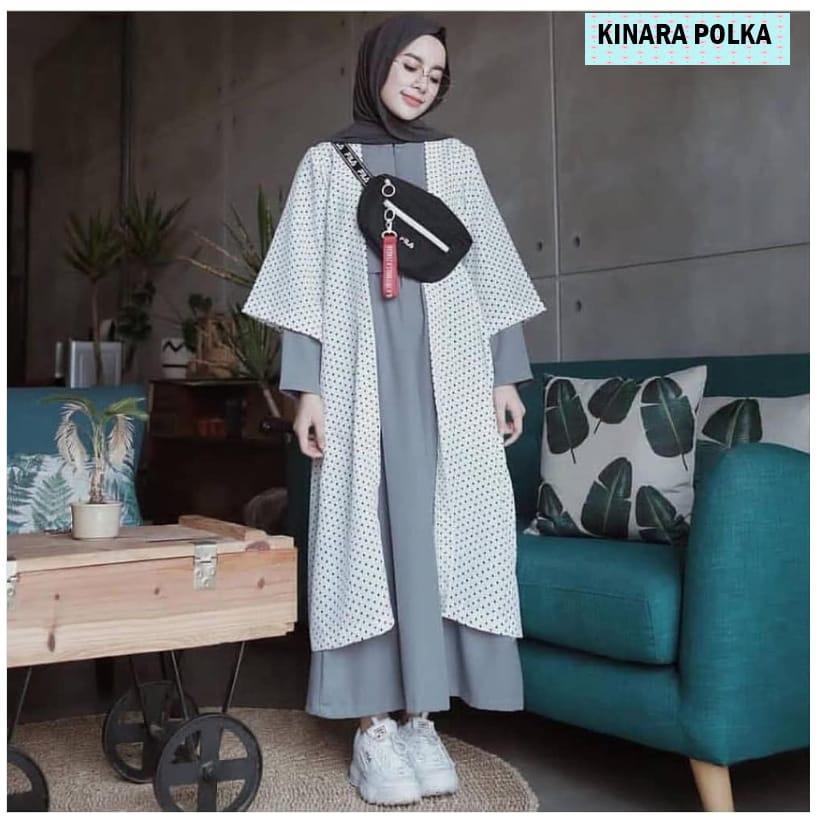 Baju Muslim Modern Cardigan Kinara Polka Outer Balotelly Pakaian Wanita Atasan Muslim Luaran Casual Fashion Hangat