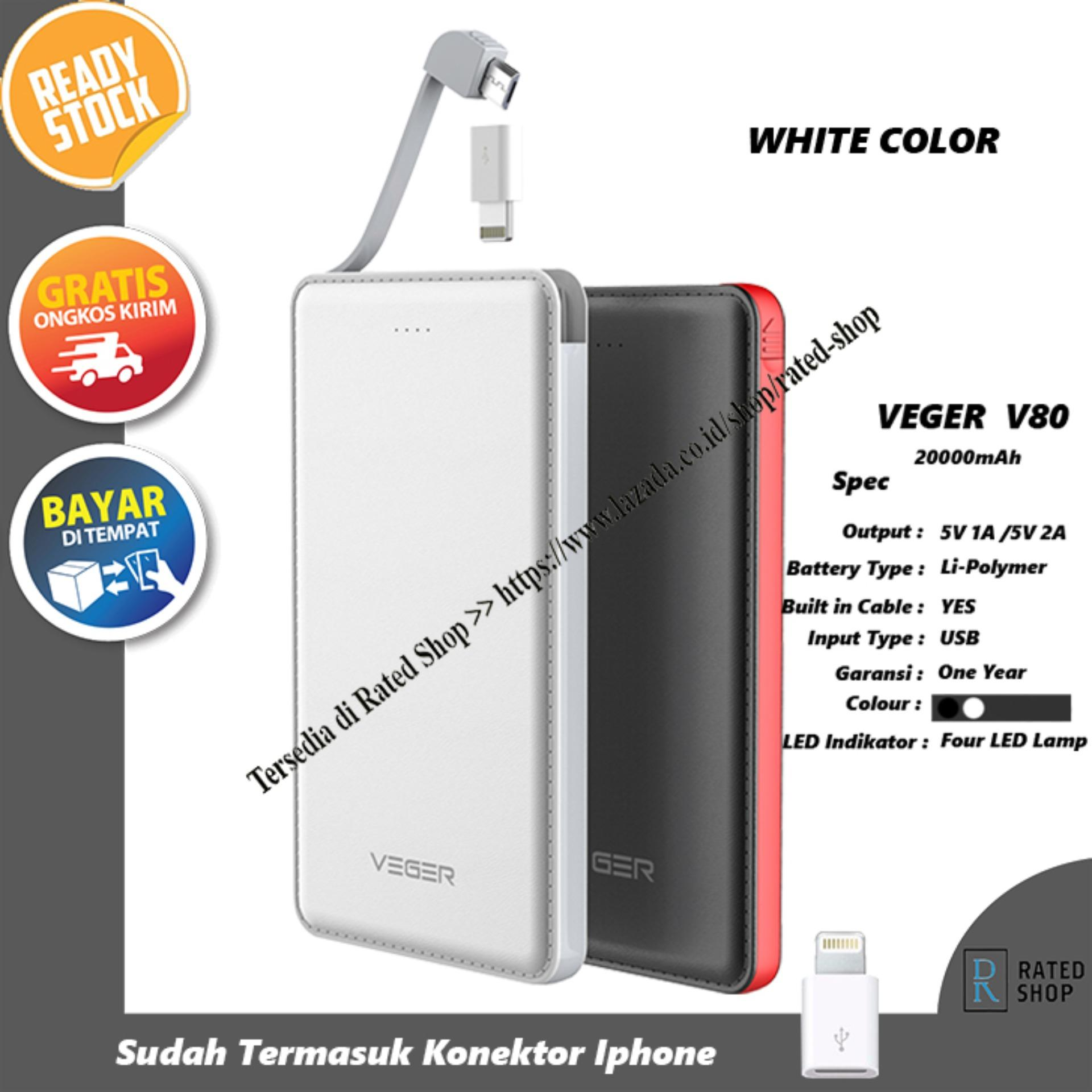 Veger V80 Power Bank Slim 20000mAh - Putih