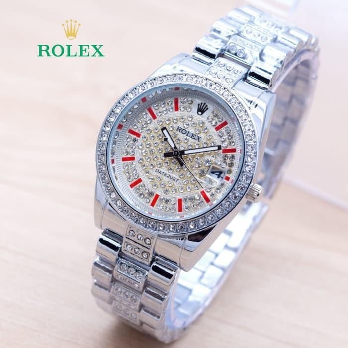 Jam Tangan Wanita / Cewek Rolex Balok Rantai Silver