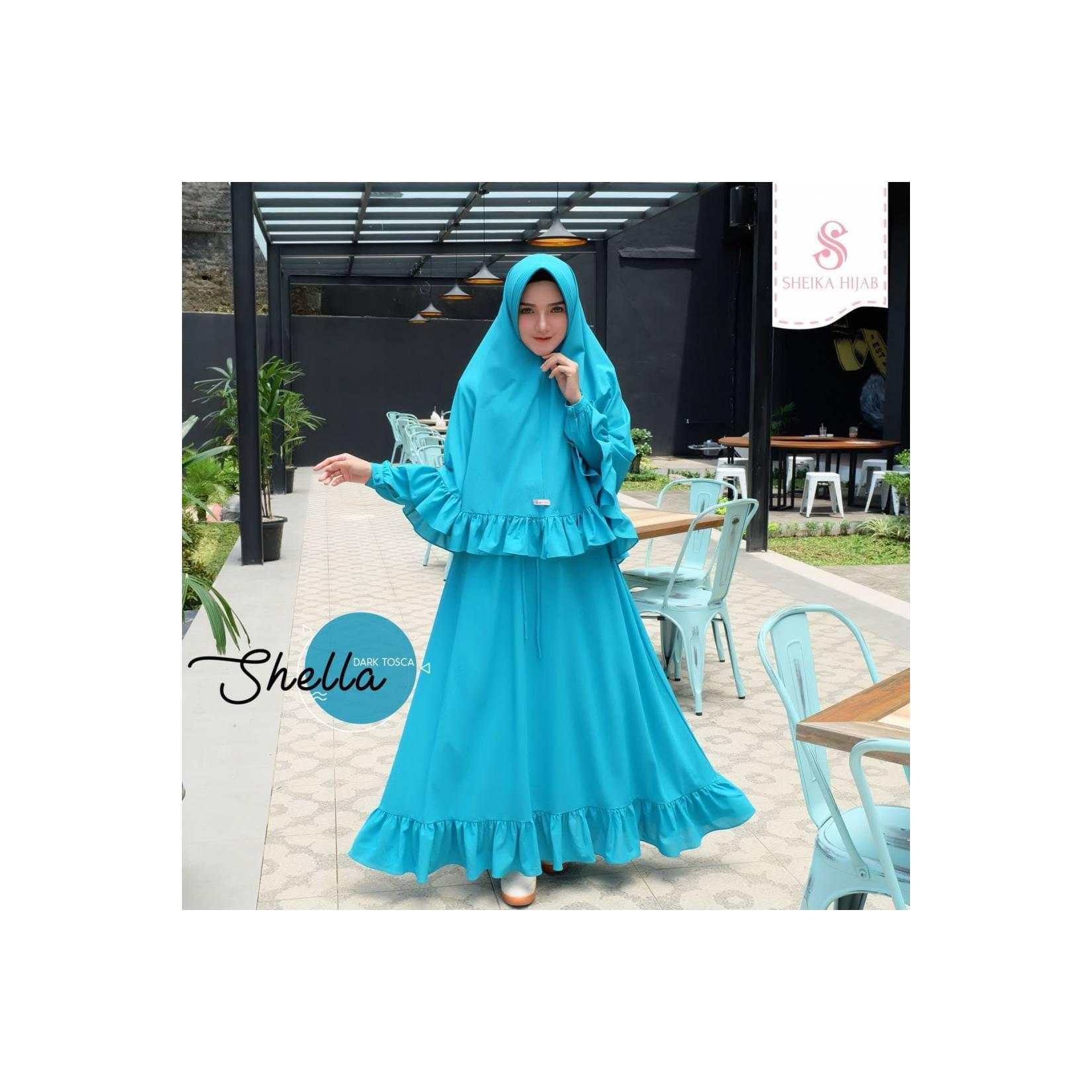 PROMO ORIGINAL TERBARU Gamis Sheika Hijab Shella Dress Dark Tosca baj