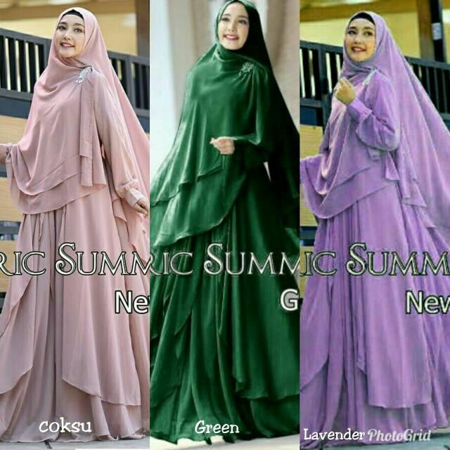 Baju pakaian muslim gamis syar'i gracella ceruty warna salem hijau botol ungu muda atau lavender (hijau botol)