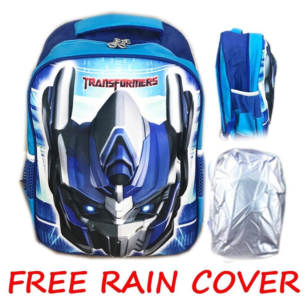 BGC Transformer Optimus Prime + Rain Cover 3D Timbul Hard Cover Tas Ransel Sekolah Anak SD - Blue
