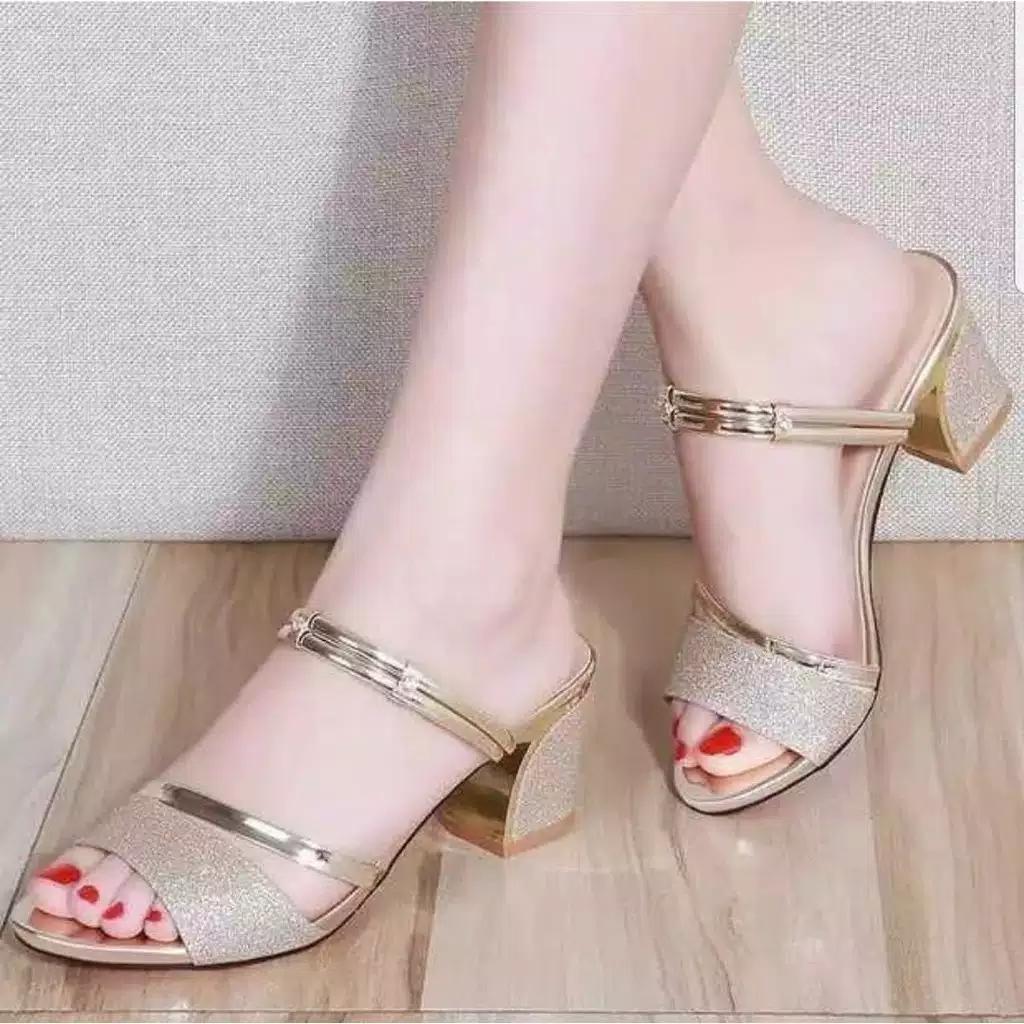 BISA BAYAR DI TEMPAT#High heels pesta gliter baru promo