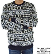 Sweater Switer Motif Print Corak Tribal Hitam Cowok Pria - Seperti