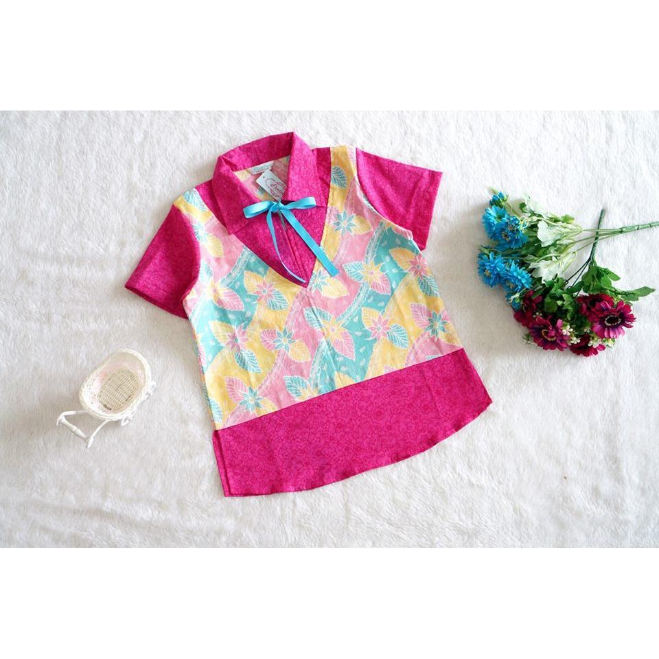 Cutevina~ Kemeja batik modern motif bunga warna pink fanta pastel FC17022 8-12th