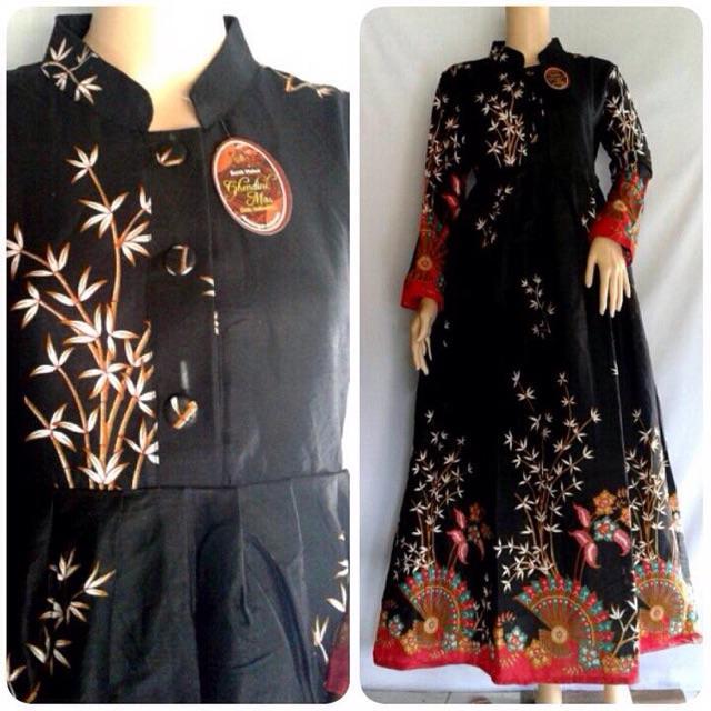 (TERBARU) Grosir Gamis Batik Modern Termurah Pakaian Wanita Produsen Seragam Batik Dolby Risna Batik HRB026 (Hijau LD 100)