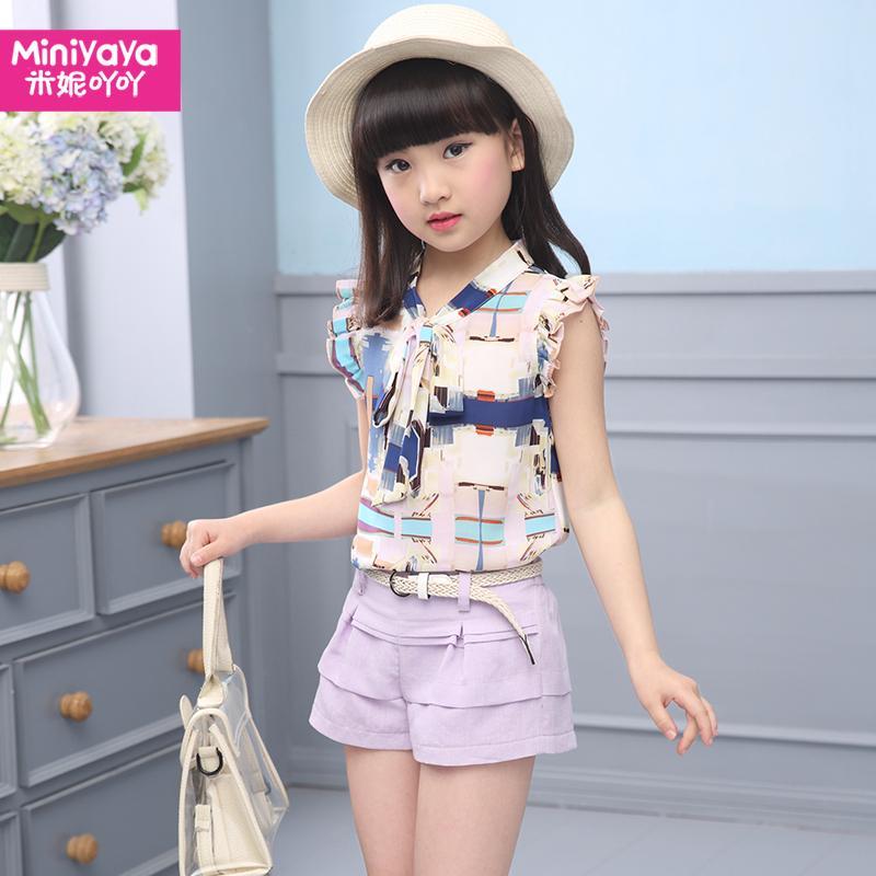 Setelan Anak Perempuan Dua Potong Kaos Oblong Lengan Pendek Celana Pendek (Talas ungu) (