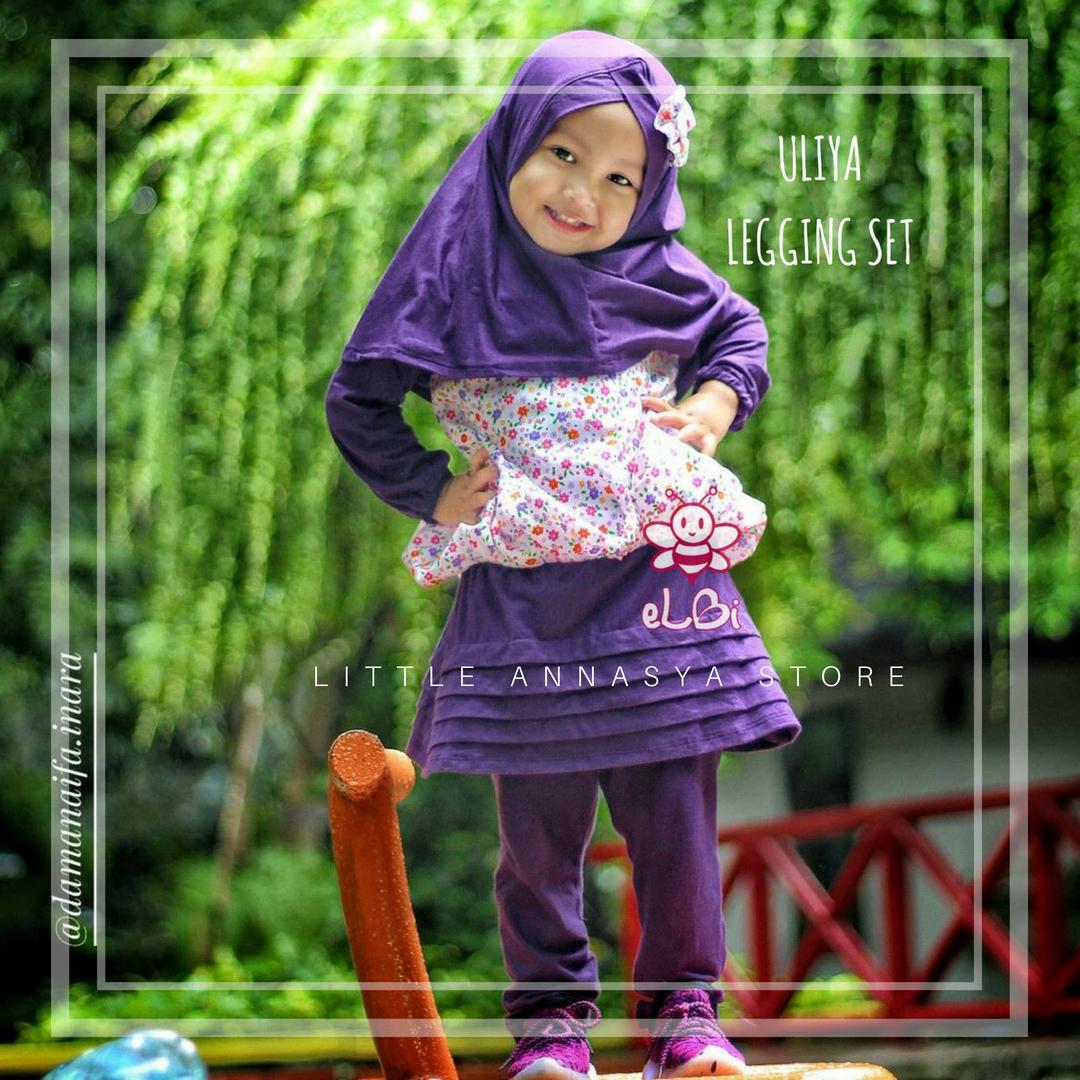 Baju Muslim Bayi Perempuan / Gamis Bayi / Baju Muslim Anak / Baju Pesta Muslim Bayi / Uliya Legging Set (1-2thn)
