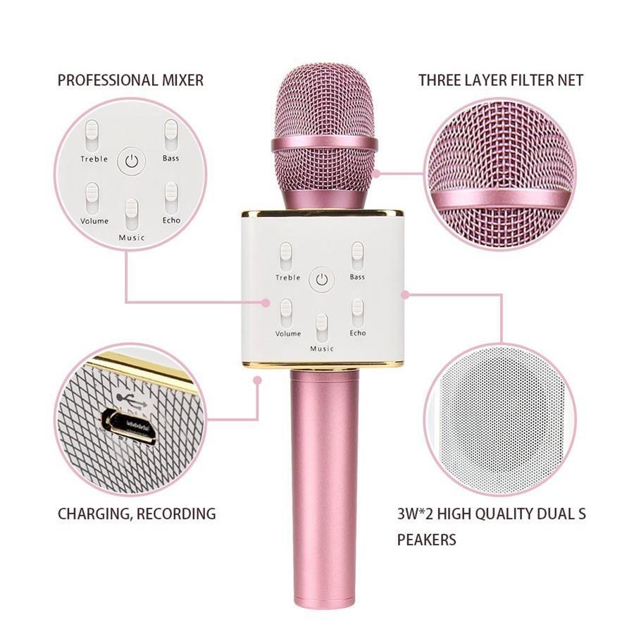MIC Q9 WIRELESS BLUETOOTH SMULE KARAOKE SPEAKER TERBARU Q9 smule mic(free box)