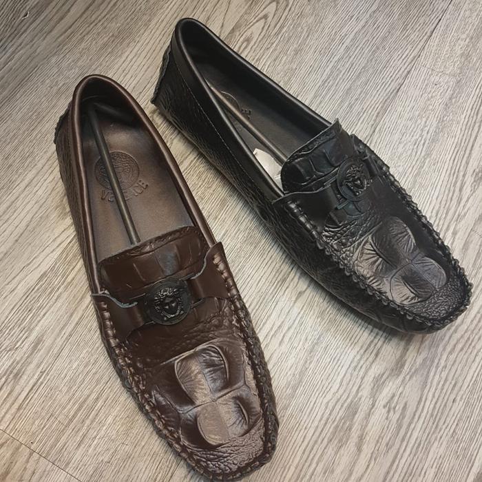 ASLI!!! Sepatu Versace Loafers Kulit Chroco