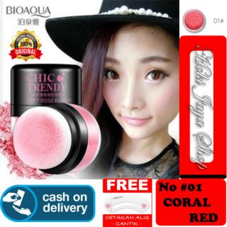HOKI COD - 01 CORAL RED - Bioaqua Original Perona Pipi CHIC TRENDY Soft Rose Blush On Powder Original + Gratis Cetak Alis Cantik Premium - 1 Pcs thumbnail
