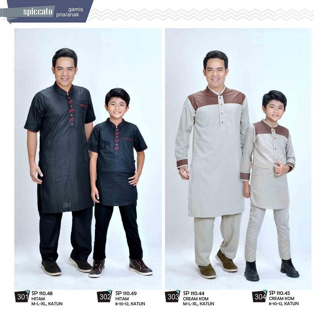 Pakaian muslim couple Ayah Anak terbaru fashion distro Spiccato Bandung pasangan baju koko setelan (SP 110.45 Krem 12)
