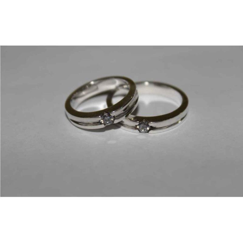 Sepasang Cincin Nikah Emas Putih 18k AuPd