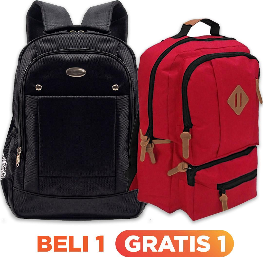 [ BUY 1 GET 1 FREE ] BUY 1 P-WATER LAPTOP BACKPACK + FREE 1 SWEDIA TAS RANSEL LAPTOP WARNA ACAK