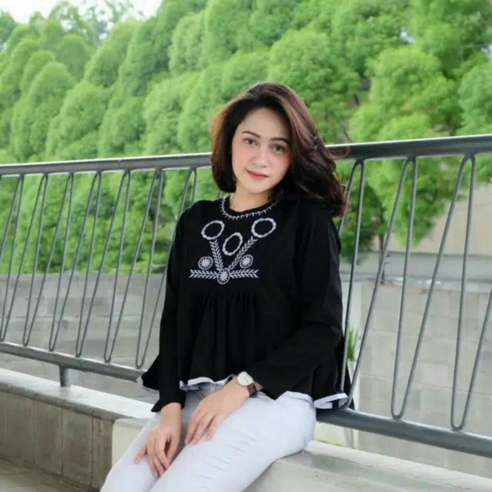 DIONISIA Nia Bella Baju Wanita / Blouse Korea / Baju Formal / Kemeja Wanita / Blouse Muslim Motif Batik / Baju Wanita / Blouse Sabrina / Atasan Wanita / Atasan Muslim / Kemeja Muslim Wanita / Baju Atasan Wanita